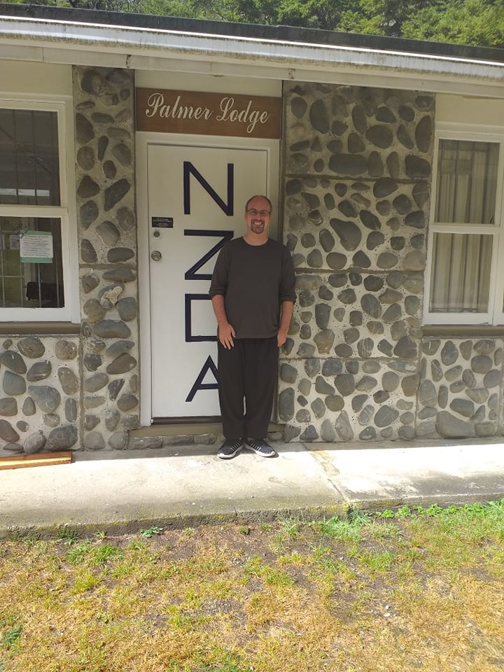 Lindsay outside NZDA hut, Lewis Pass, 22nd March 2020